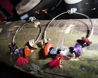 Pierette genuine natural gemstone hoops