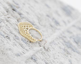 Nature inspired bold brass ring, Polycystine