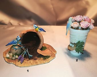 Dollhouse Flower pot and vase with bird scale 1/12, flowerpot and vase with miniature birds and flowers, miniature flowers pot, miniature vase