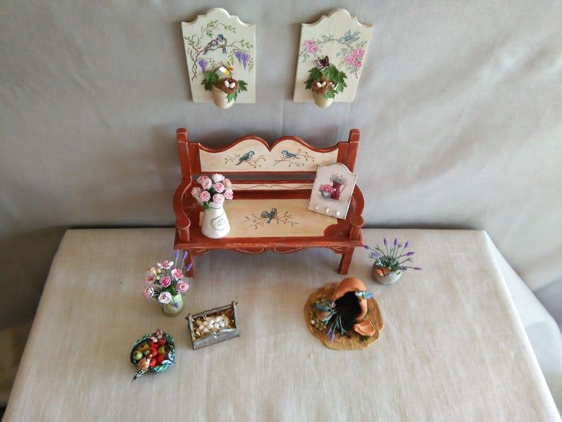 banco de jard\u00edn casa de mu\u00f1ecas hand made bench Bench scale 112 Dollhouse Garden Bench Banco de jard\u00edn miniatura Miniature Bench