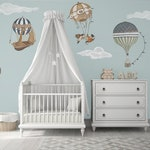 XL Vintage Hot Air Balloon Animals Set of 7, 12 Clouds, nursery, baby, hand painted look, Repositionable fabric Wall decals