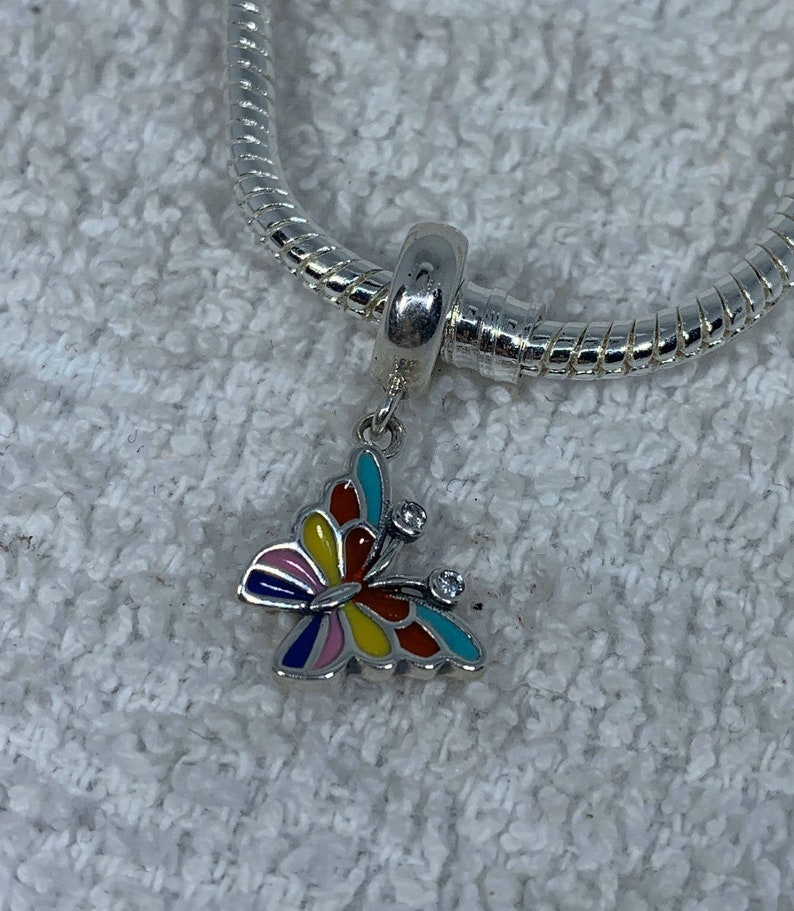 Sterling silver colorful butterfly european charm