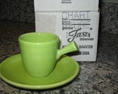 Fiestaware Fiesta Chartreuse Green Demitasse Cup Saucer Set With Original Box