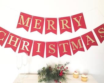 merry christmas banner etsy