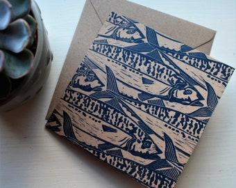 Cornish Mackerel Blank Greetings Card