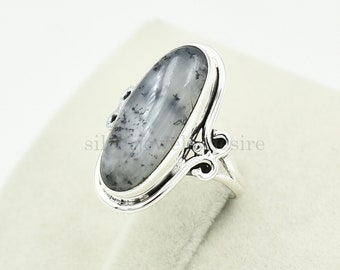 Natural Dendrite Opal Silver Sterling Ring,Dendrite Opal Ring-Handmade Ring-Silver Jewelry-Unique-Promise Ring,Gemstone Ring Gift Ring