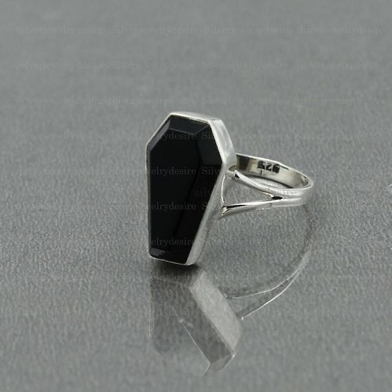 925 Sterling Silver Black Onyx 10x17mm Coffin Gemstone Ring Black Onyx Coffin Ring Handmade Coffin Ring,Valentine Gift Ring Coffin Ring