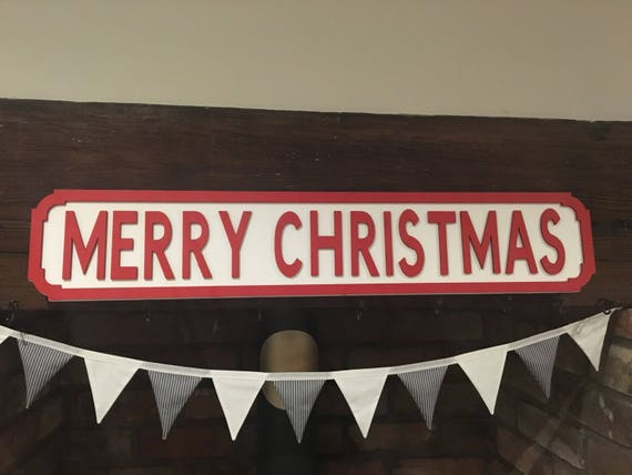 Merry Christmas Vintage Style Street Sign Christmas Sign Etsy
