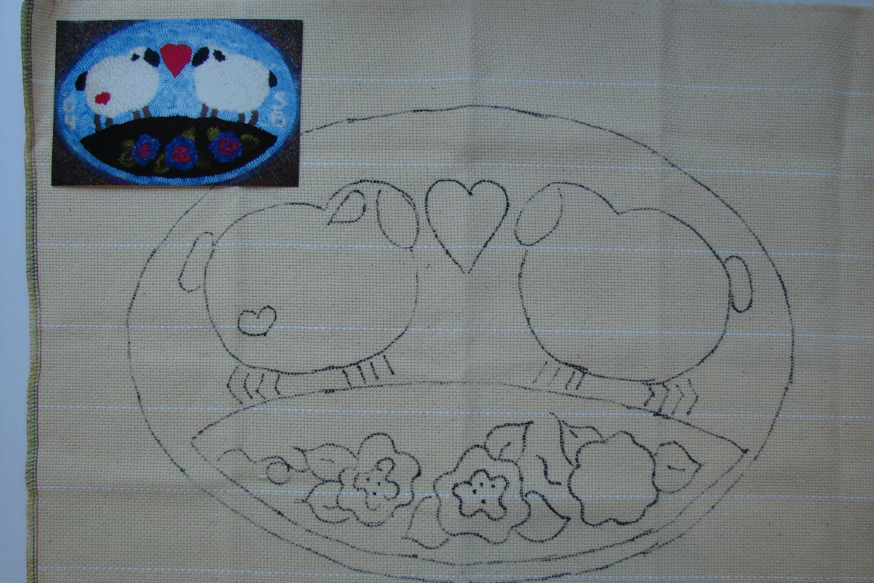 Rug Hooking Or Punch Needle Pattern On Monks Cloth Adaptation Of Applique Pattern Love Ewe Sheep