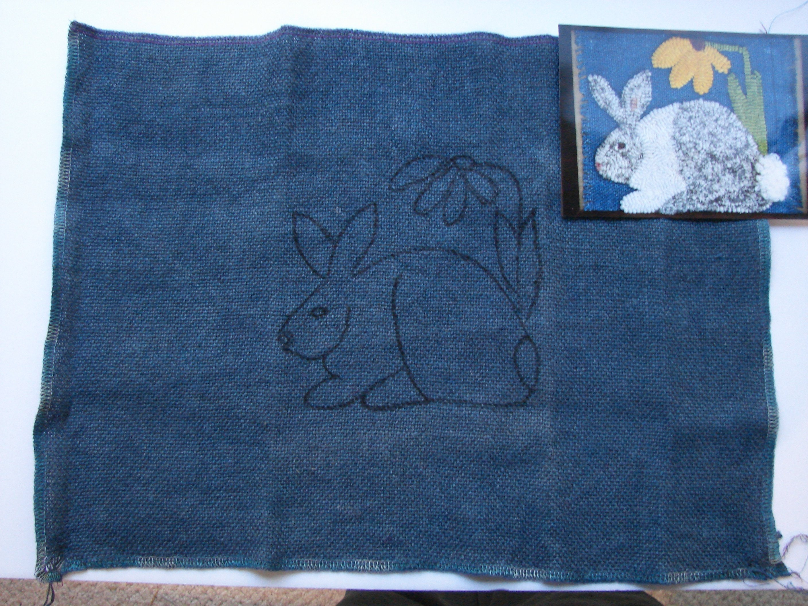 Rug Hooking Or Needle Punch Pattern With Dyed Background On Monks Cloth Bunny