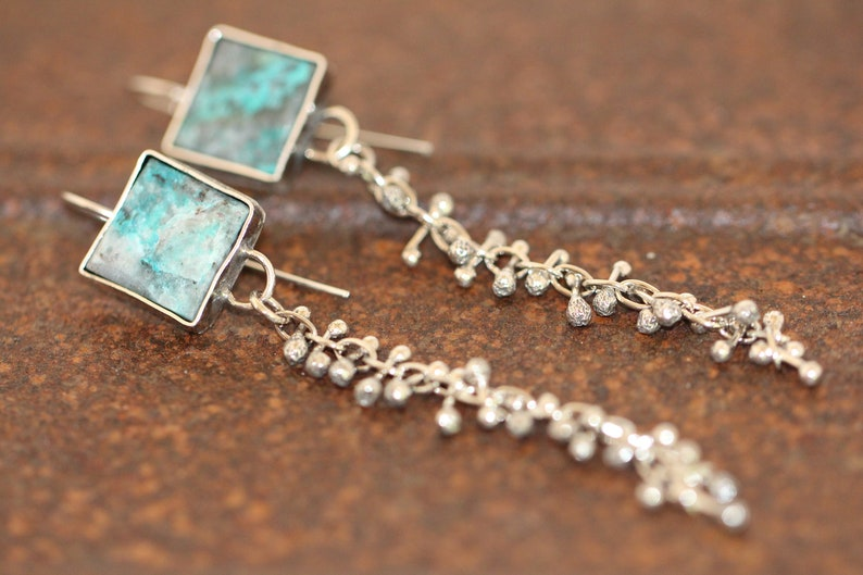 4b26b065372b5 raw chrysocolla and sterling silver danglers by Studio Spider OOAK
