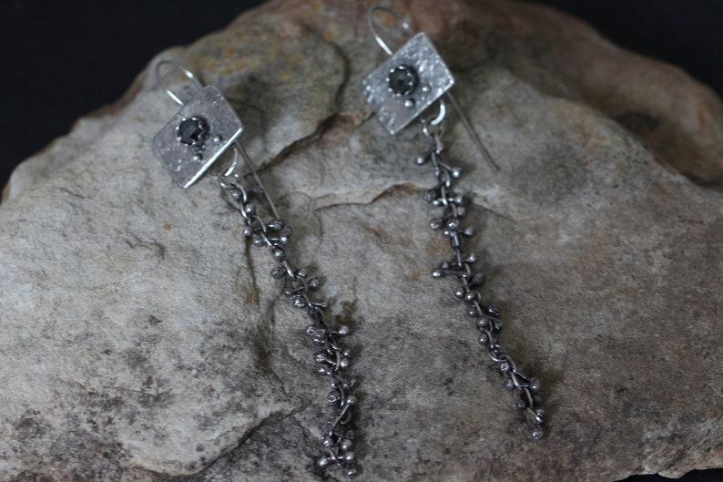 3b9ce199ea416 sterling silver brutalist earrings. dangling barbell earrings. raw silver  and hematite earrings. silver 925. by Studio Spider