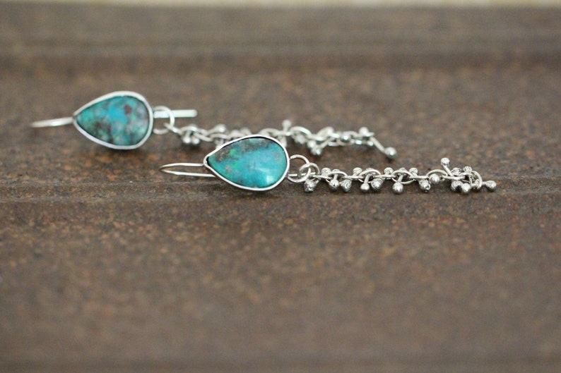 ee0d8f41451d1 sterling silver and chrysocolla dangling earrings. barbell earrings. Boho  style. by Studio Spider.OOAK