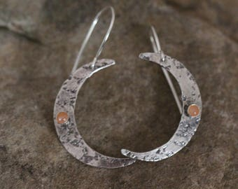 Moon earrings. Crescent Moon jewelry. Sterling silver moon and moonstone. 925 silver. Boho.