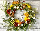 XL Red Sunflower Fall Wreath, Red and Yellow Sunflower Wreath, Fall Sunflower Wreath, Fall Sunflower Decor