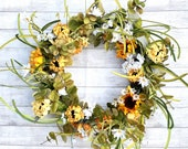 XL Sunflower Daisy wreath, White and Yellow Sunflower wreath, Summer Sunflower Welcome wreath, Wispy Fall Yellow and white Sunflower Wreath