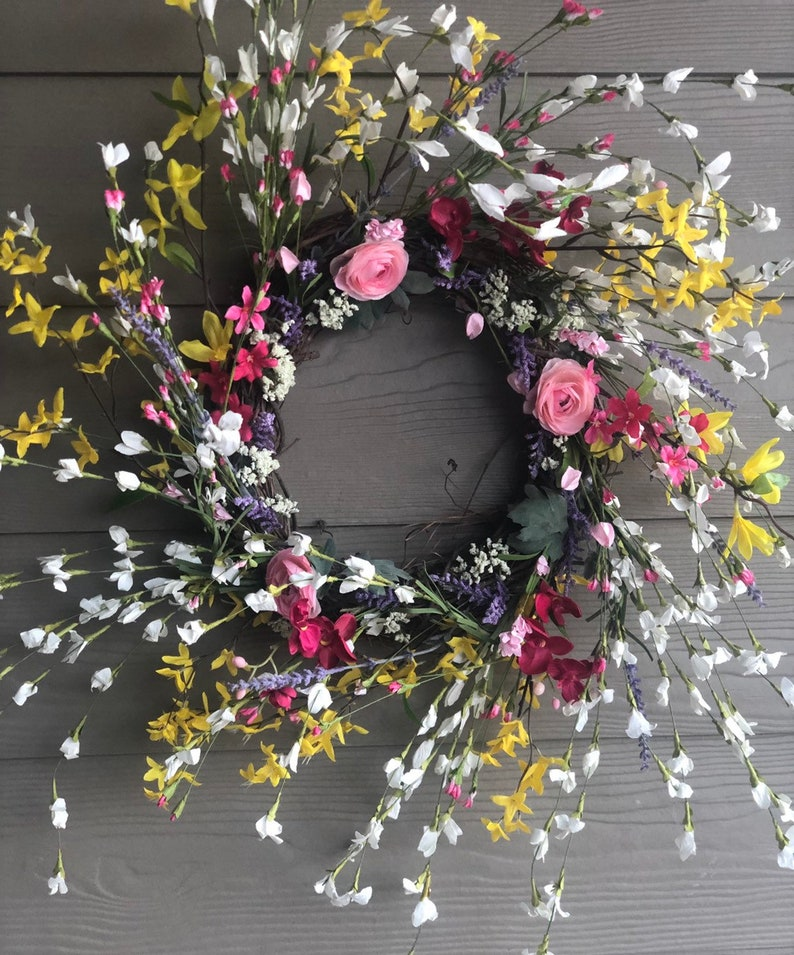 just convo me 27 x 27 plus custom requests welcome Large Spring Wreath Spring Wildflower Wreath