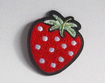 Red strawberry patch, Iron on patch, Fruits patch, Embroidered patch, Patches for jackets, Strawberry applique, Food patch