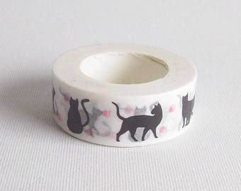 Black cat washi tape, Animal washi tape, Cat stationery, Kitty washi, Animal stationery, Masking tape