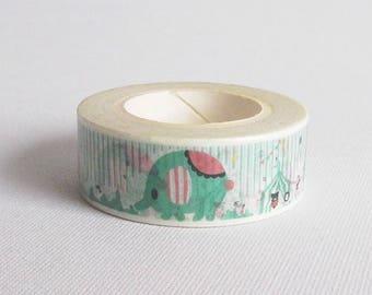Elephant washi tape, Animal washi tape, Circus washi tape, Washi masking tape