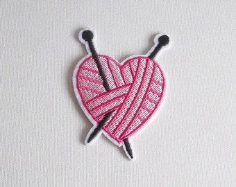 Yarn ball iron on patch, Knitting needles yarn patch, Gifts for knitters, Iron on yarn ball, Sew on heart yarn, Knitting sew on patch