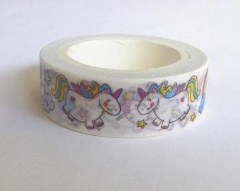 Unicorn washi tape, Kawaii washi tape, Unicorn stationery, Unicorn washi paper, Unicorn tape, Washi masking tape, Cute washi tape