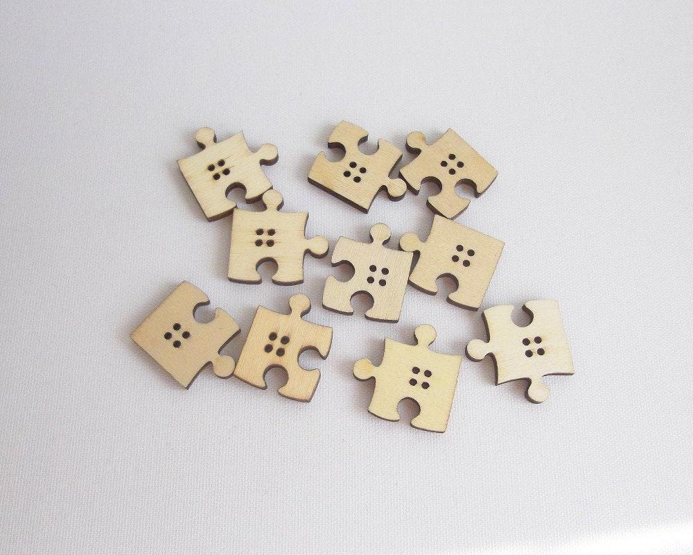 Lotto 10 pulsanti bottoni in legno legno puzzle merceria etsy