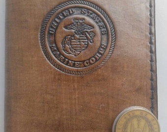 Military insignia leather passport wallet Marines, Navy, Army, Coast Guard, National Guard, Air Force, monogram available