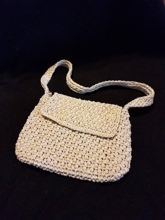 6f29235b0af7 Vintage Magid Italy Raffia and Beads Handbag Ivory Purse