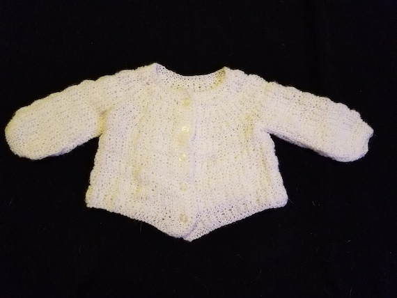 Handmade White Crochet Knit Baby Toddler Long Sleeve Sweater Jacket Button Up Front