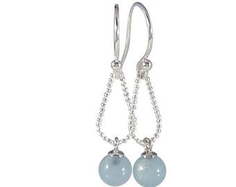 Silver earrings with aquamarine 6 mm   handmade jewelry by Cobaja