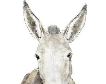 Farm House Donkey, Digital, Printable File, Digital Watercolor and Ink