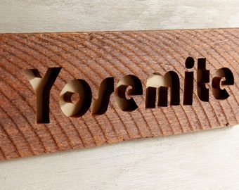 Yosemite scroll saw cut wooden sign wall hanging