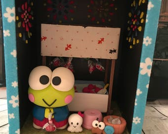 Handmade Japanese handicraft Master piece!  Sanrio Keroppi in the summer festival at the goldfish game shop fireworks display doll house!