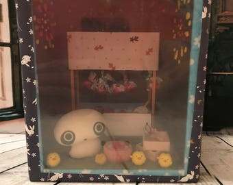 Handmade Japanese handicraft Master piece   Tare Panda in summer festival goldfish game shop with fireworks display doll house!