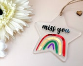 Miss You Rainbow Positivity Quote | Small Personalised Hanging Keepsake | Send To Loved One