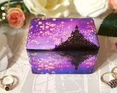 Tangled Wedding Inspired Double Ring Box / Rapunzel Wedding Ring Box Purple , Tangled Lanterns , Castle