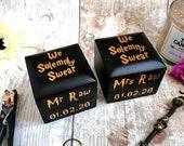His & Hers Ring Box Set •  Wedding Ringboxes Ring Bearer Pair