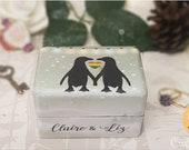 Penguin Winter Wedding Luxury Wedding Ring Box • Penguin Wedding • Winter Wedding • Engagement Ring Box • Proposal • LGBTQ