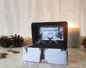 Winter Wedding Luxury Double Ring Box - Winter Wonderland - Deer / Stag Snow - Wedding Ring Box