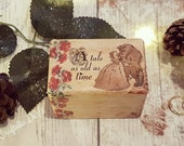 Luxury Wedding Ring Box • Beauty And The Beast Tale As Old As Time / Double Ring Box / Engagement Ring Box / Wedding Flowers Enchanted Rose