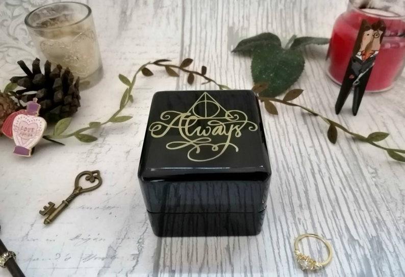 Wedding Ring Box Always Quote \u2022 Double Ring Box \u2022 Wizard Wedding Inspired Engagement Ring Box \u2022 Single Proposal Ring Box