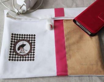 Pochette bicolore à rabat, Tour Eiffel Paris, tote bag paris, trousse toilette ou maquillage, cadeau original pour elle, idée cadeau