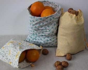 lot de sac à vrac écolo réutilisable  zéro déchets avec lien coulissant assorti pour faire vos courses