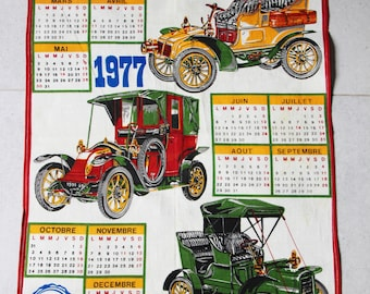 1970s vintage kitchen towel, vintage cars advertising object, fabric wall calendar, 1977 calendar, 70s retro, towel, made in france