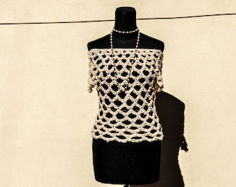 Hand made lace crochet mesh