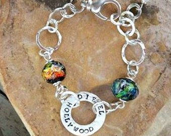 Trillium Buddy Link Bracelet in Sterling Silver, Ashes in Glass, Personalized Pet Memorial, Cremation Jewelry