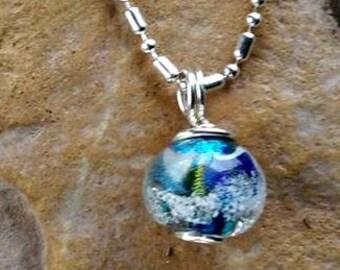 Trillium Petite Galaxy Memorial Necklace, Ashes in Glass, Pet Memorial, Cremation Jewelry