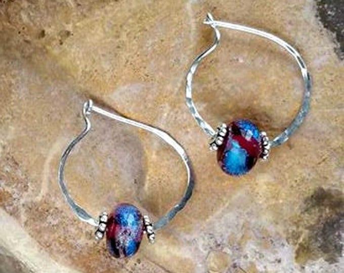 Trillium Circle of Love Memorial Earrings, Ashes in Glass, Cremation Jewelry, Pet Memorials