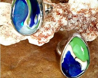 Ashes in Glass, Memorial Artist Ring, Large Bohemian Style, Pet Memorials, Cremation Jewelry